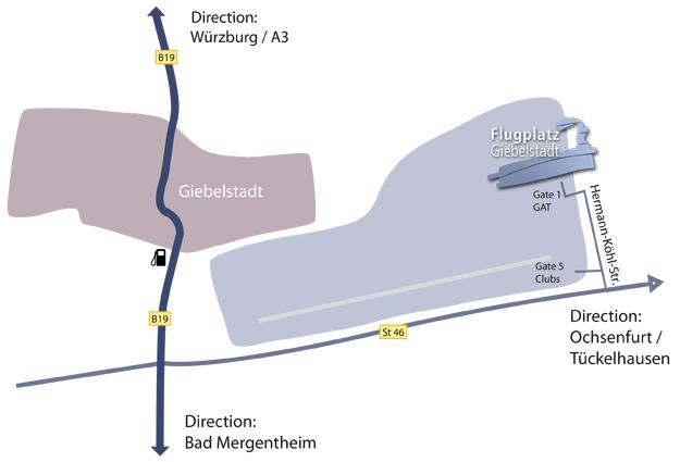 Anfahrt Flugplatz Giebelstadt
